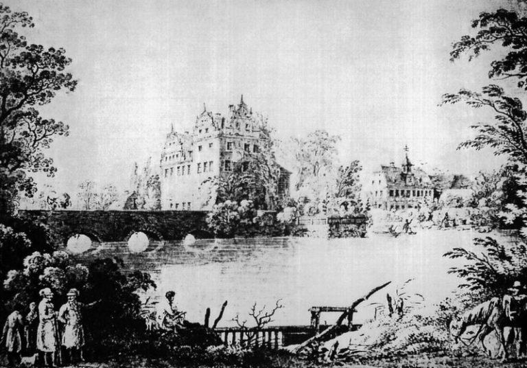 Schloß und Gutsverwalterhaus um 1816